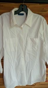 Karen Scott White Cotton Shirt Sz L